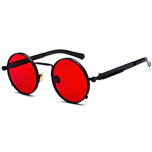 Kennifer Steampunk redonda Retro Metálico gafas de sol para hombres y mujeres Gafas de sol redondas vintage con marco de metal protector UV400