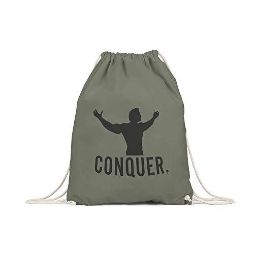 licaso Bolsa de Deporte Estampada en Colores Gym Bag con Robusto Cordel Bolsa impresión ecológica & sostenible Bolsa de Transporte 100% algodón, Color Arnie Conquer, tamaño Olivgruen