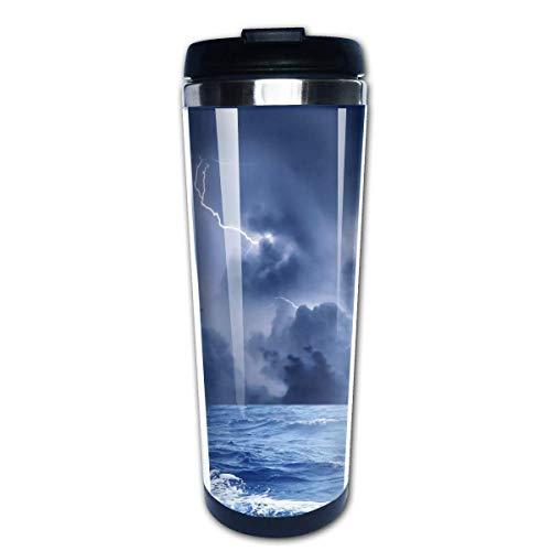 QIUJUAN Lightning Ocean Print Travel Mug 400 Ml Portable Coffee Travel Mug For Men Women Stainless Steel Tumbler Cup (Portable Keurig)