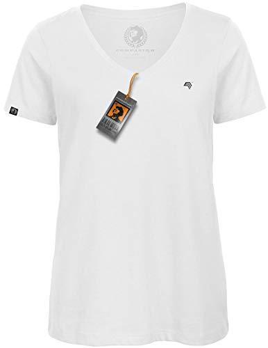 COMPANIEER BAC TW045 Damen Bio-Baumwolle V-Neck-Kragen-Ausschnitt T-Shirt Weiß Weiss Organic Cotton Größe M- OHNE Brustlogo - Jersey Double V-neck