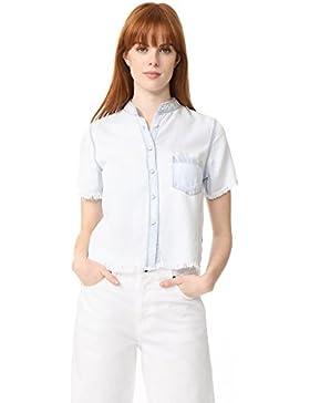 The Blue Shirt Shop Mujeres camisa de dril de algodón de manga corta de Montauk Azul