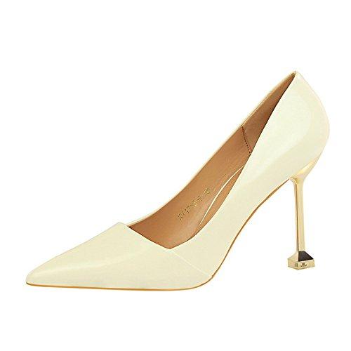 DIMAOL Scarpe da Donna in Similpelle di Caduta di Primavera Comfort Tacchi Stiletto Heel Punta per Vestire Il Nudo Luce Rosa Rosso Marrone Argento Bianco