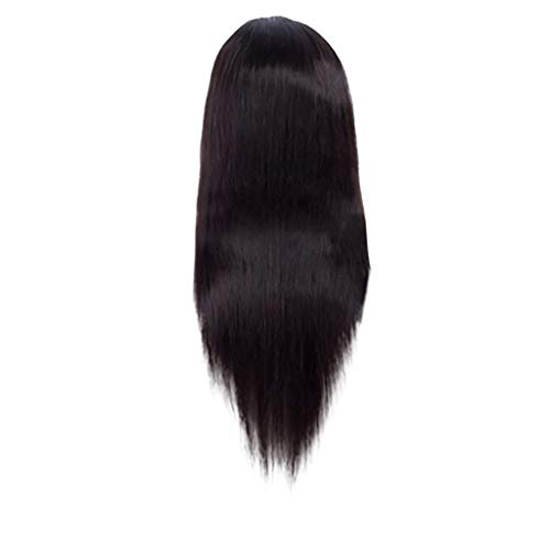 ToDIDAF Natural Brazilian Human Staight Hair Wigs, Glueless Full Lace Frontal Wig, Adjustable Length, Natural Hairline for Women - Black (22 inch) - Sealer Perücke Lace