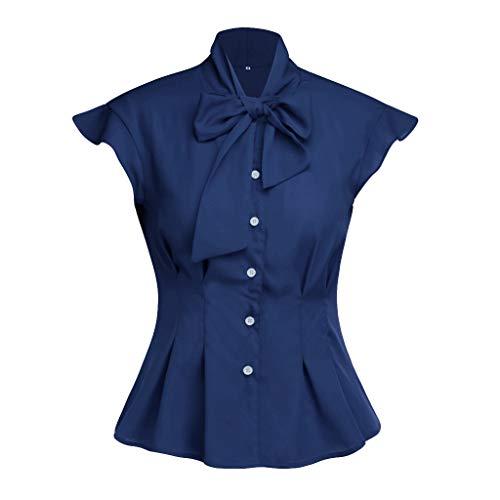 Andouy Damen Hemd Krawatte Fliege Eleganter Knopf-Rüsche-Kappen-Hülsen-Spitzen Gr.34-42 Büroarbeit-tägliche Bluse(S(34),Marine)