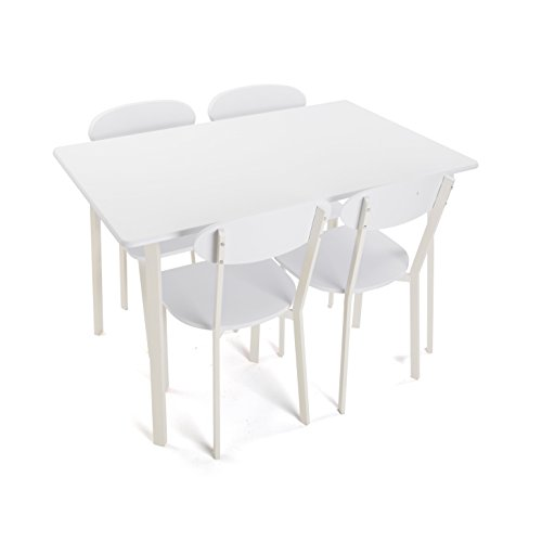 Versa 20880050 Set mesa 4 sillas madera blanca, 75x80x120cm