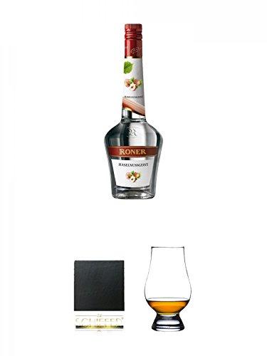 Roner Haselnussgeist Südtirol Italien 0,7 Liter + Schiefer Glasuntersetzer eckig ca. 9,5 cm Durchmesser + The Glencairn Glass Whisky Glas Stölzle 1 Stück