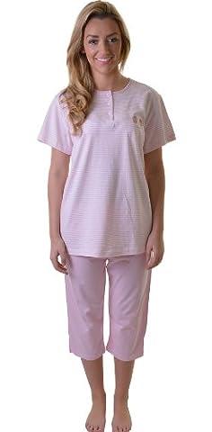Gorgeous Short Sleeved Cotton PJ Pyjama Set with Cute Cupcake Motif, Pink, Small