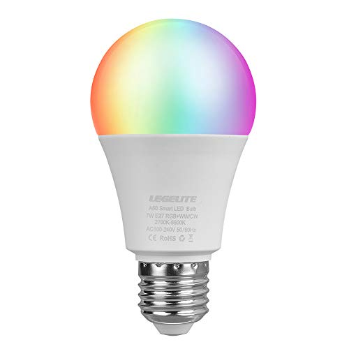 LEGELITE LED Smart Light Bulb, E27 7W WiFi Smart Bulbs 2700K to 6500K Dimmable and Color Changing, No Hub Required, Works with Amazon Echo Alexa Google Home, 60W Equivalent (1 Pack)