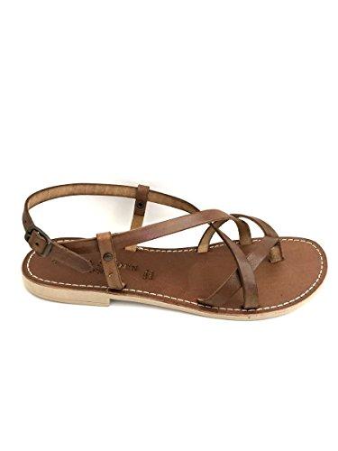 Zeta shoes sandali infradito 200lisc in pelle tacco basso cuoio nero cuoio, 37 mainapps