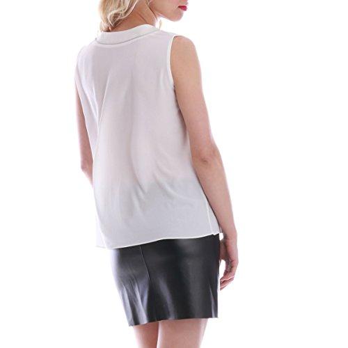 La Modeuse Blouse Femme sans Manches Blanc