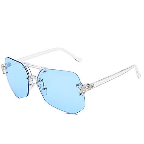 Sonnenbrille,Rahmenlose Sonnenbrille Weibliche Persönlichkeit Tide Star'S New Sport Sonnenbrille Männer Uv-Schutz Blau