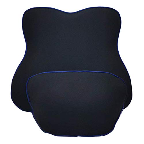 Ecloud Shop® Memory Foam Lordosenstütze Rückenkissen und Kopfstütze Nackenkissen Kit, ergonomisch geformtes Netz Lordosenstützkissen für Autositz-Schwarz