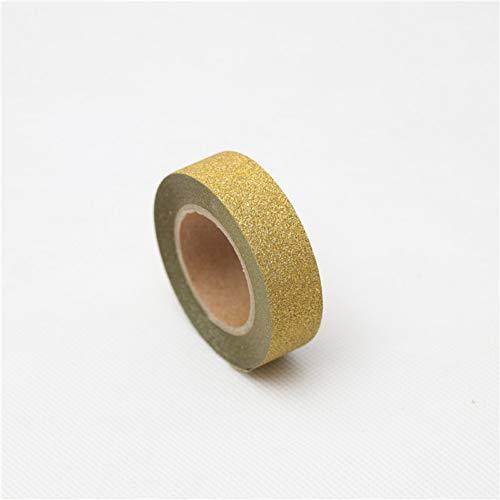 JKOU Tape 15Mm * 10M Gold Silber Glitter Tape Schreibwaren Scrapbooking Tools Masking Tape Farbig