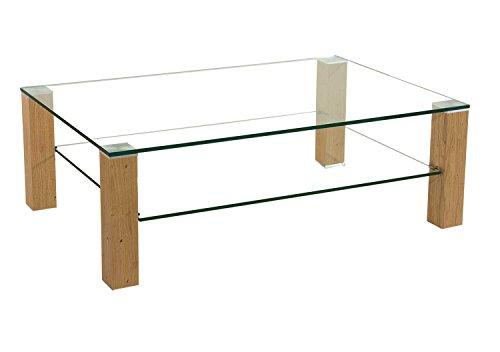 Stegert-Design Sydney20573 Couchtisch mit Einer 12mm starken Glasplatte und Rollen. Klarglas Kernbuche Größe: 120 x 80 cm Rechteckig Kernbuche