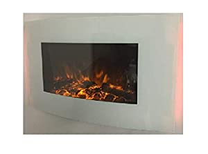 2018 TRUFLAME White Glass 7 Colour Changing LED Wall Mounted Log Effect Electric FIRE