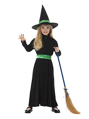 Smiffys Kinder Mädchen Böse Hexe Kostüm, Kleid und Hut, Alter: 7-9 Jahre, 48008 (Böse Hexe Kleid)