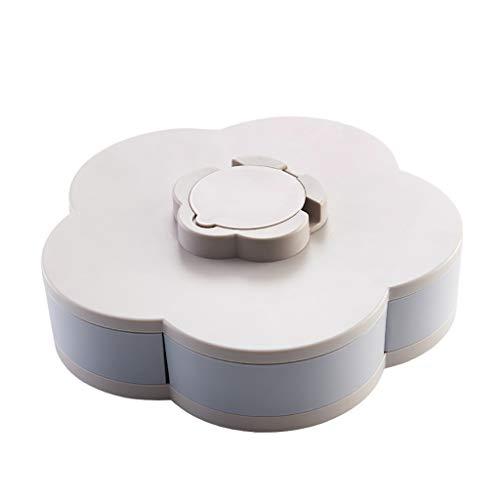 Food Storage Organizer (BAMD=NB Food Storage,Blüte Blume rotierende Snack Box Nuss Schüssel Tabelle Candy Food Storage Organizer mit Handyhalter (Grau 4))