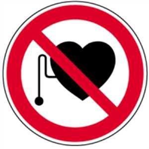 Aufkleber Verbot für Personen mit Herzschrittmacher 10cm Ø Folie