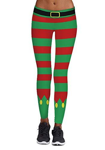 wenyujh Damen Leggings Weihnachten Muster Hose Sport Yoga Hose Stretch Skinny Leggins Floral Print Druck -
