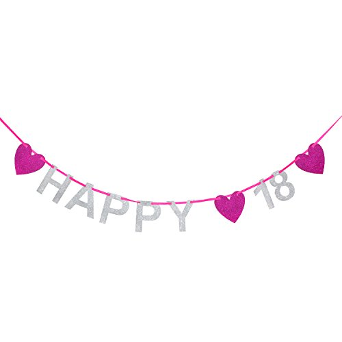 Oblique Unique® Happy 18 Girlande - Silber Pink Glitzernd - Geburtstag Birthday Dekoration (Happy 18 Birthday)
