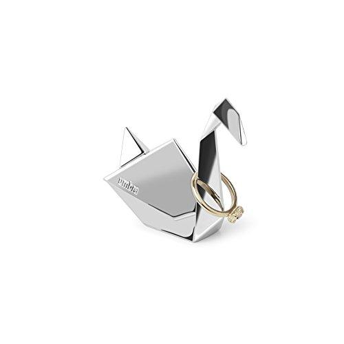 Umbra Origami Schwan Ringhalter - Moderne Ringablage, Ideales Gastgeschenk, Beschichtetes Metall / Chrom
