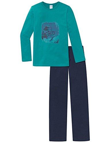 Schiesser Jungen Zweiteiliger Schlafanzug Anzug Lang, Blau (Türkis 807), 152