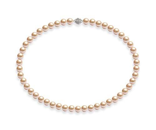Rosa Stein Modeschmuck - Schmuckwilli Damen Muschelkernperlen Perlenkette Rosa Magnetverschluß