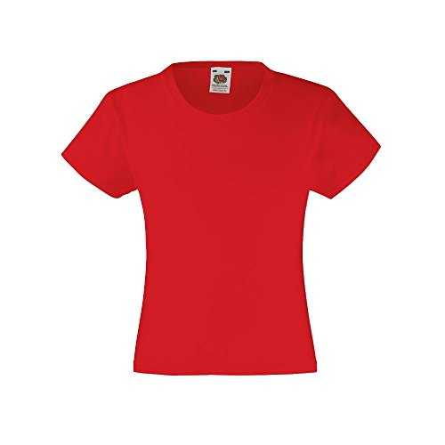 Fruit Of The Loom Girls Valueweight T-Shirt Red 12-13 Years