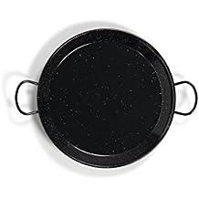 La Valenciana Pfanne 10 cm, emaillierter Edelstahl, Paella-Pfanne, Schwarz 32 cm schwarz