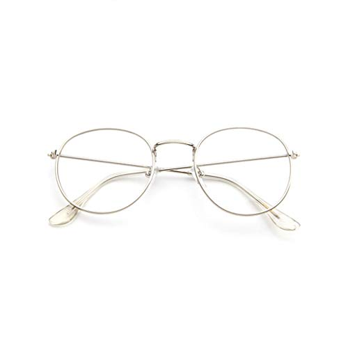 WooCo Retro Brille für Damen und Herren, Ausverkauf Fashion Frame Flat Mirror Transparente Brille Frame Five Color(Weiß,One size)