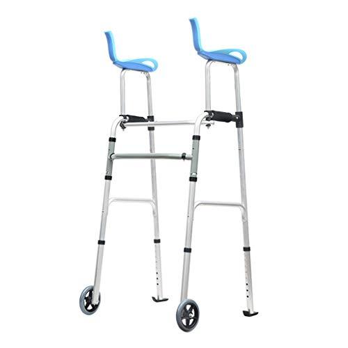 Rolling Walkers Hochleistungs-Klapp-Walker mit Armstütze für Senioren, Erwachsene, extra breiter Vorderrad-Walker (2 5-Zoll-Räder), für Erwachsene bis 150 kg, Größe blau (Breit Walker Extra)