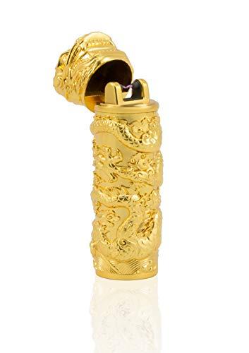 feuerzeug gold TESLA Lighter T02 | Lichtbogen Feuerzeug, Plasma Single-Arc, elektronisch wiederaufladbar, aufladbar mit Strom per USB, ohne Gas und Benzin, mit Ladekabel, in Edler Geschenkverpackung, Drache Gold