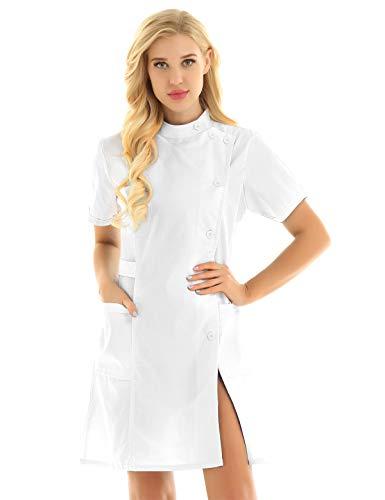 TiaoBug Unisex Batas Laboral de Trabajo para Peluquería Estética de SPA Uniforme Sanitario Empleados Profesional Casaca con Bolsillo Disfraces Adultos de Médico Enfermera Blanco Medium