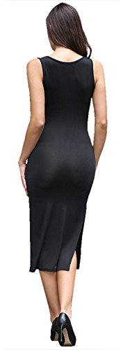 Jeansian Femme Mode Robe Sans Manches Sexy Women's Fashion OL Office Slim Fit Elegant Evening Party Dresses WHS431 Black