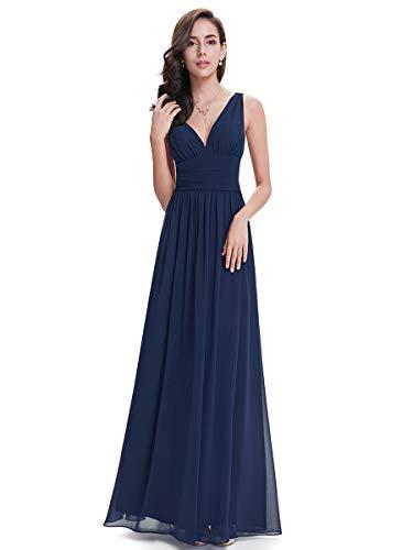 Ever-Pretty Robe de Soirée Longue Femme en Mousseline Col V 50 Bleu Marine