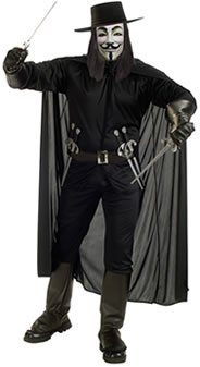 For V Complete Costume Black (Guy Fawkes Perücke)
