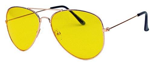 Klassische Pilotenbrille für Damen o Herren 80er Jahre Klassiker Metallrahmen Tropfenform AVR (Gold/Night Driver)