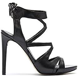 PoiLei Damen High Heel Riemchen Sandalette schwarz mit Schleife Giorgia Leder schwarz