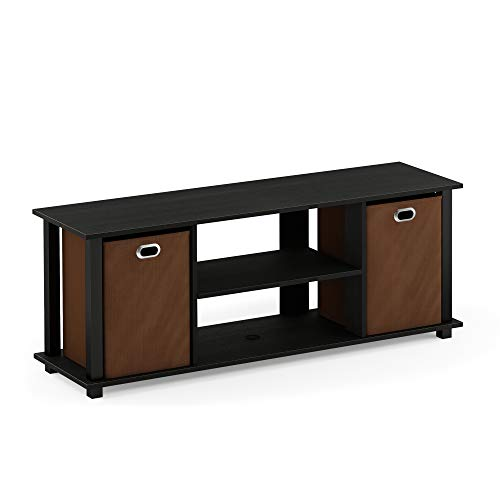 Furinno 13054 Econ Entertainment Center w/Storage Bins, Americano/Black/Medium Brown -