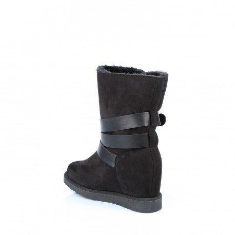 Ideal Shoes - Bottes semi-compensées et fourrées avec triple ceintures Gauthière Noir