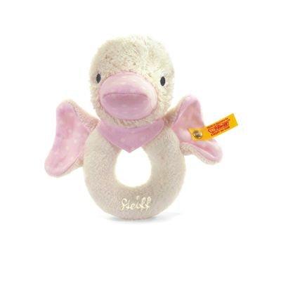 Steiff 238413 - Schnatter-Ente Greifring, rosa, 12 cm