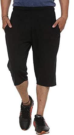 VIMAL JONNEY Men's Cotton Capris (Black, Small)