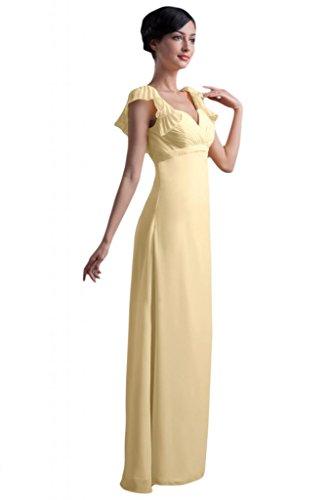 Sunvary elegante fodera in raso da pavimento lunghezza-Abito da sera lungo Pageant, donna Giallo chiaro