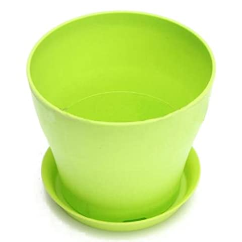 TOOGOO(R) Mini Gloss Round Plastic Plant Flower Pot Planter With Saucer Tray Home Decor M, Green