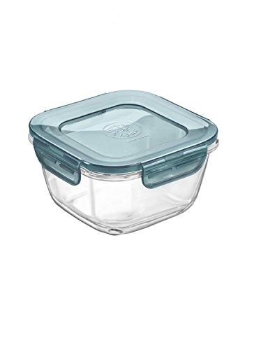 Bormioli Rocco Frischhaltedose EVOLUTION mit grauem Klickverschluss-Deckel, verschiedene Größen, rund oder eckig, Aufbewahrungsdose, Glasschale, ofensicher, mikrowellengeeignet, spülmaschinengeeignet, zum Einfrieren, sehr robust, BPA-frei