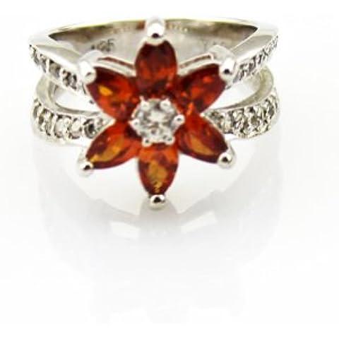 Las joyas de plata de ley con Zircon cúbico Anillo de piedra preciosa de la Flor Granate