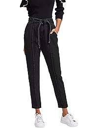 DIDK Femme Jeans Pantalon Taille Haute Jeggings Unicolore Pantalon Crayon À  Couture avec Lacet Casual 4685e8aa44e8