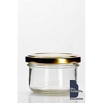 BOTTLE COMPANY 60 X 4OZ/120ML APPROX ROUND VERRINE GLASS JAM JARS,CHUTNEY,PRESERVE,PICKLE,SWEET,HONEY,WEDDING FAVOUR JAR C/W GOLD LIDS