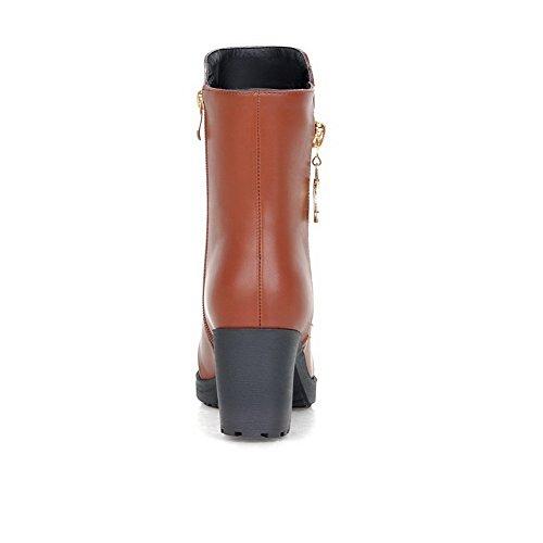 VogueZone009 Damen Blend-Materialien Rund Zehe Mittler Absatz Mittler Kalb Stiefel, Schwarz, 39