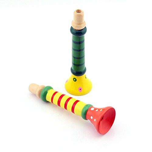 Children's 2 Pièces Bébé Enfant en Bois Brushing-Klaxon trompette Hooter base Instruments Toys-Couleurs : Vert/Jaune/Bleu/Rouge